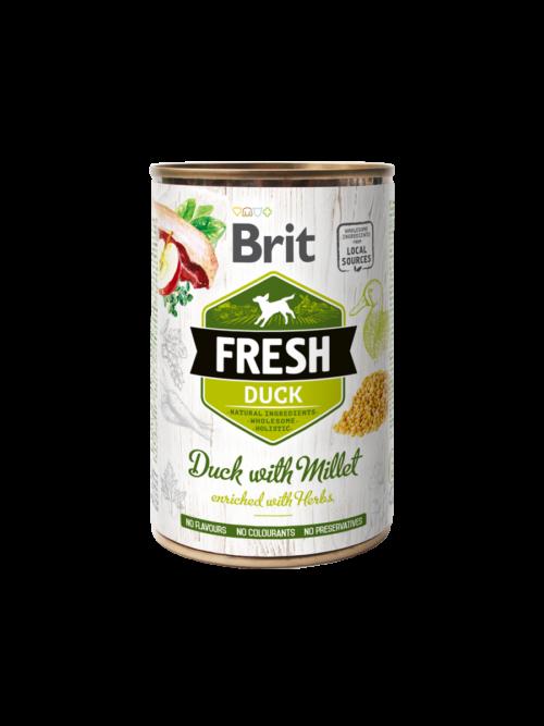 Brit Fresh Duck with Millet - mokra karma dla psa miska karmypl