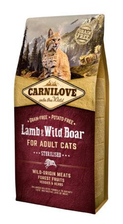 Carnilove Lamb & Wildboar Sterilised - 6kg - karma sucha - kot - sterylizacja - miskakarmypl