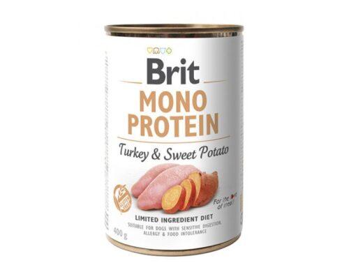 Brit Mono Protein - Indyk Słodki Ziemniak - 400g puszka - karma mokra monobiałkowa - MiskaKarmy.pl