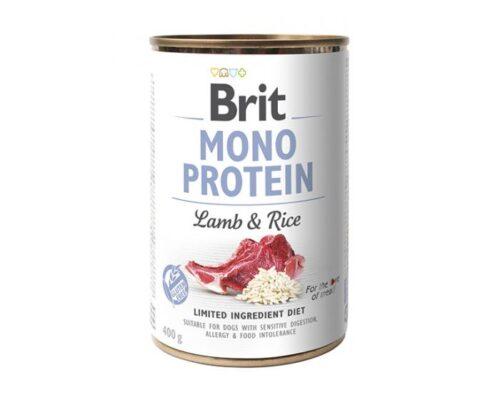 Brit Mono Protein - Jagnięcina Ryż - 400g puszka - karma mokra monobiałkowa - MiskaKarmy.pl