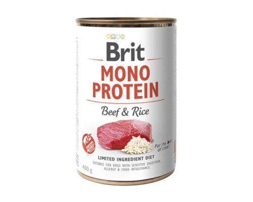 Brit Mono Protein - Wołowina Ryż - 400g puszka - karma mokra monobiałkowa - MiskaKarmy.pl