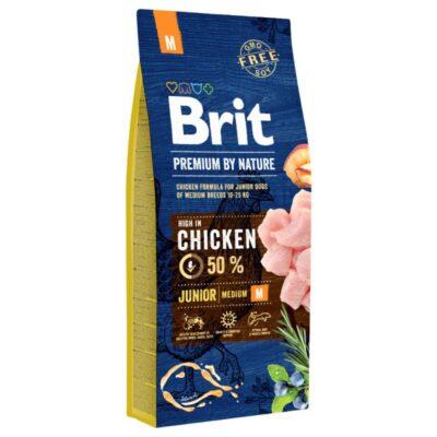 Brit Premium By Nature - Junior M - Kurczak - 15kg - sucha karma szczeniak - MiskaKarmy.pl