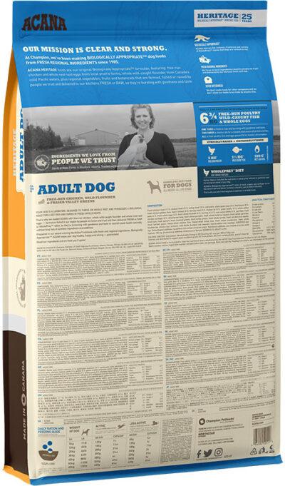 Acana Heritage Adult Dog - sucha karma - pies dorosły - 11,4kg - rewers -MiskaKarmy.pl