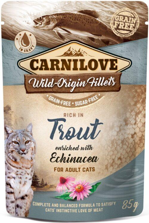 Carnilove - Trout & Echinacea - saszetka 85g - karma mokra kot - miskakarmypl