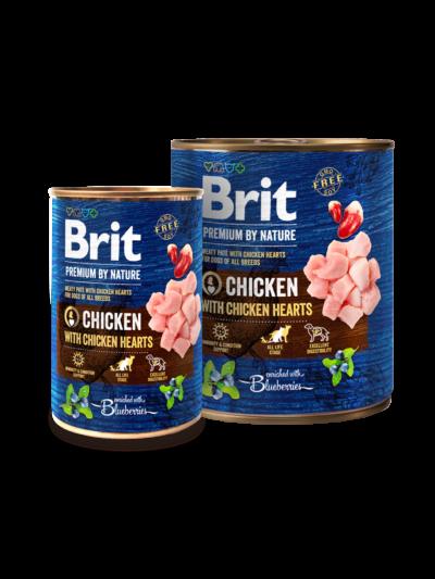 Brit Premium By Nature - Chicken with Chicken Hearts - puszka dla psa - karma mokra - miskakarmypl